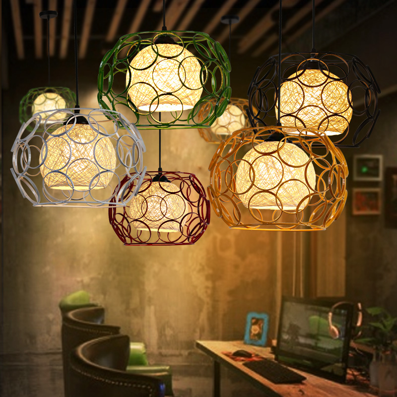 cafe restaurant table features shade industrial wind single color iron cage dining room hanging lamp restaurant cafe meal of lamps and lanterns hanging lamp is acted the role of single head 3 lemon meal hanging lamp