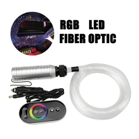 6W RGB Car Roof LED plastic Fiber Optic Star Ceiling Kit Lights 380 Strands *(0.5mm+0.75mm+1mm)*2/3M with Touch remote control