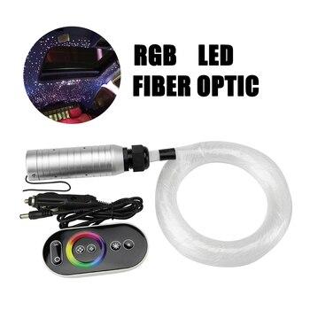Kit de luz de techo de estrella de fibra óptica LED DC12V para coche (100 piezas 0,75mm + 70 piezas 1 mm) * 2 M + mando a distancia táctil