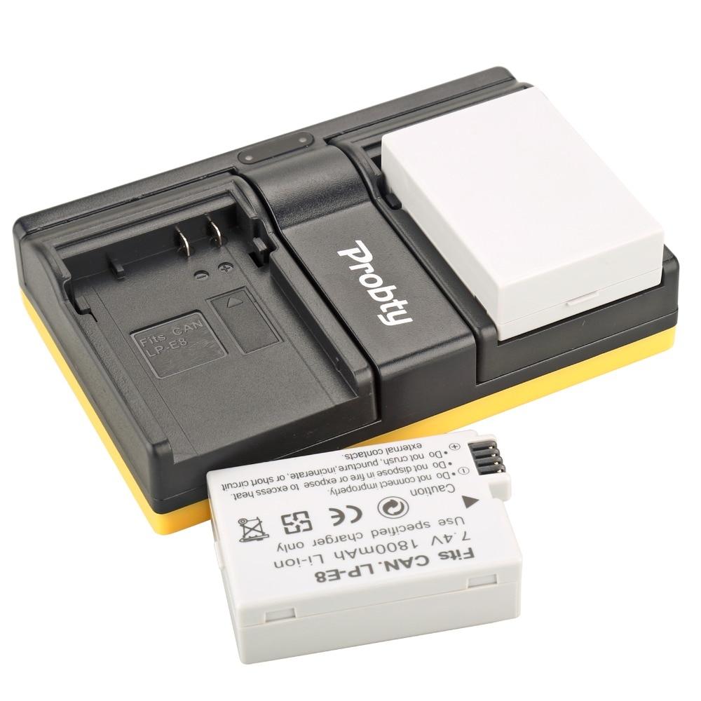 Probty 2pcs LP-E8 LP E8 Camera Battery + Dual Charger For Canon 550D 600D 650D 700D Kiss X4 X5 X6i X7i SSY-2290 T2i T3i T4i