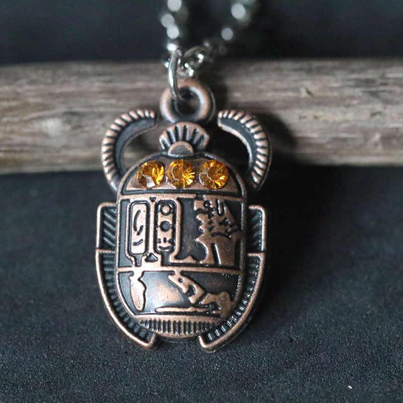 Egipski egipt skarabeusz naszyjniki Vintage Chafer naszyjnik bogactwo wieczne Choker Collier dla kobiet mężczyzn prezent na boże narodzenie