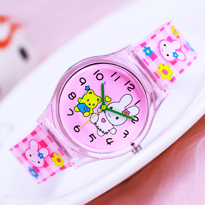 2018 willis new famous brand women children girls transparent pu-strap quartz watches cute Strawberry rabbit cartoon kids gifts женская юбка brand new 2015 strawberry leopard 3d f e43
