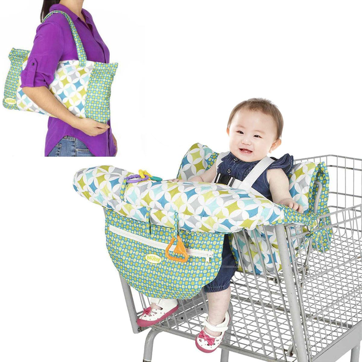 Foldable Baby Kids Shopping Cart Cushion Kids Trolley Pad Baby Shopping Push Cart Protec ...
