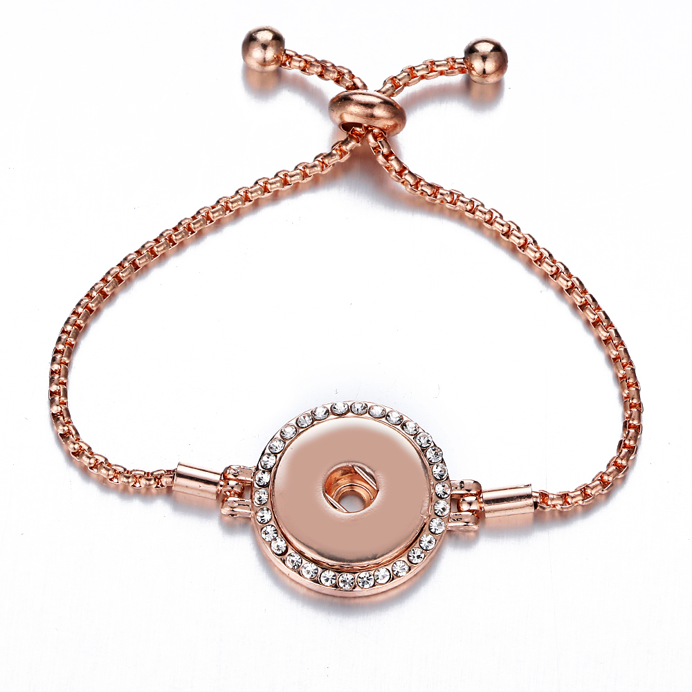 2018 new Design 18mm Snap jewelry bracelets & bangle for Women Rose Gold Color Hand Made Fashion Jewelry