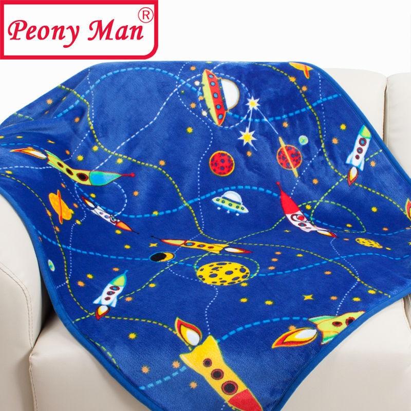 Blue Rocket Baby Blanket Kids Cartoon Cobertor Para Bebe