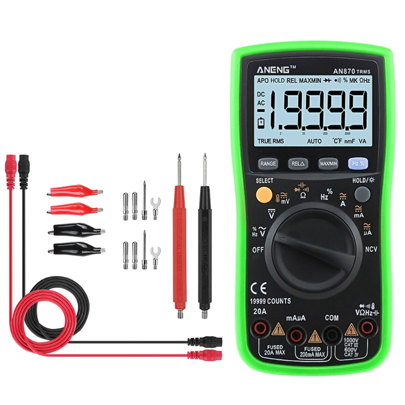 OOTDTY AN870 19999 Counts True RMS Auto Range Digital Multimeter AC/DC Voltage Meter Electrical Instruments