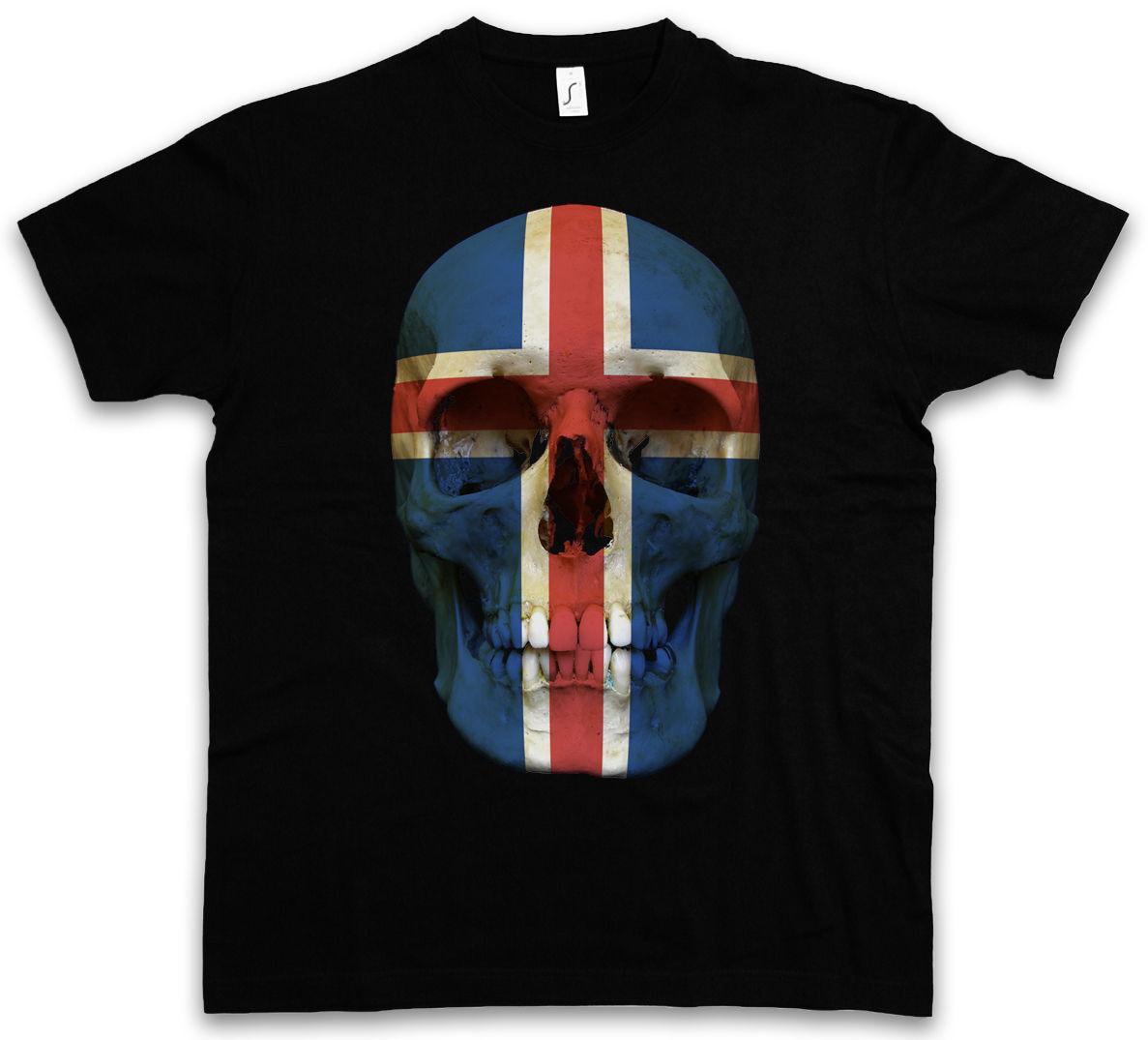 CLASSIC ICELAND SKULL FLAG T-SHIRT - Biker MC Banner Shirt Sizes S - 5XL  Cool Casual pride t shirt men Unisex New Fashion