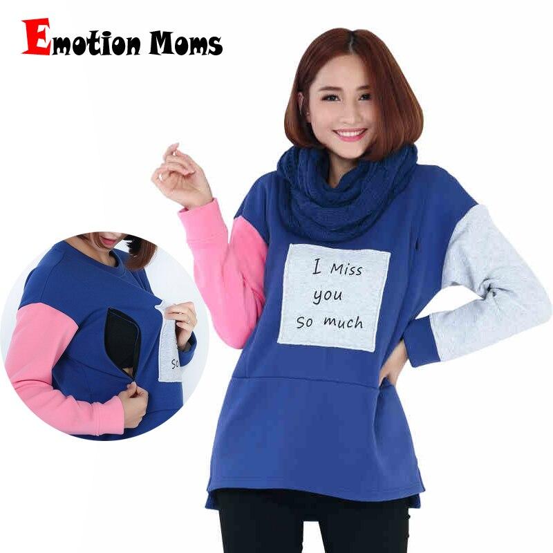 Emotion Moms Winter Maternity Nursing Clothes Long Sleeve Nursing