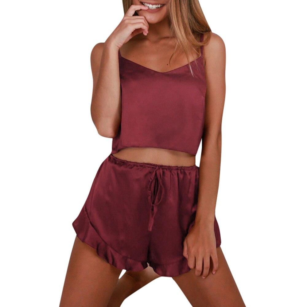 2019 Simple Women's Wash   Pajamas     Set   1PCS Sling Tops & Mid Waist Lace Short Pants Fashion Home Clothing   Pajamas   szlafrok a8