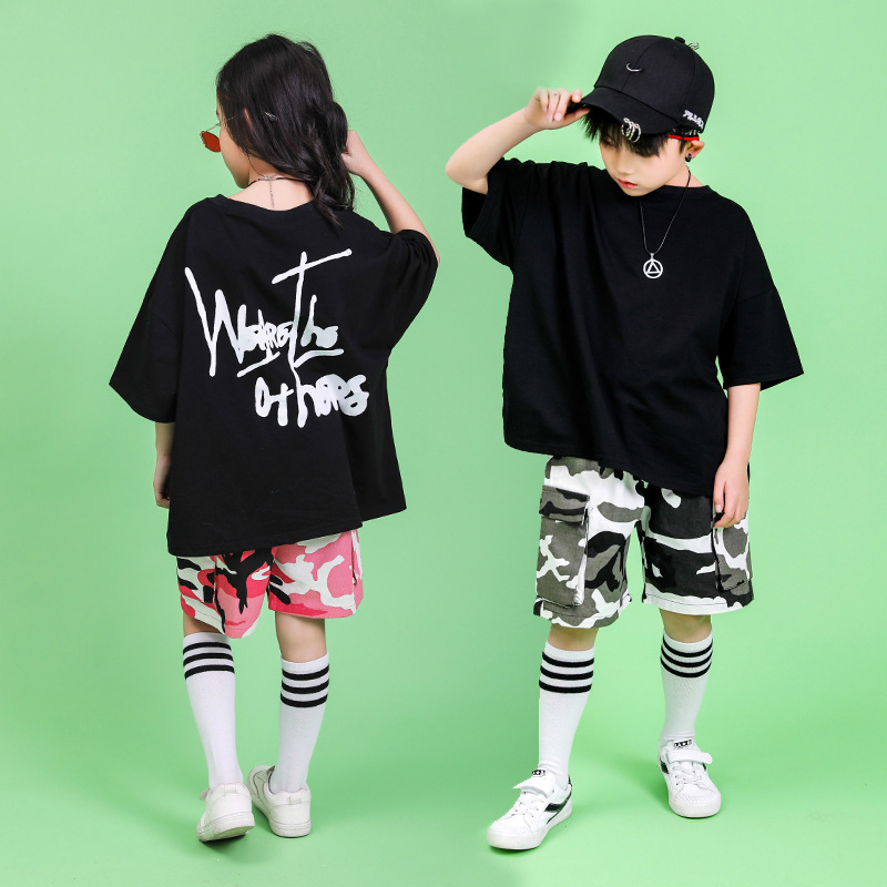 Kid Hip Hop Clothing Running Oversized T Shirt Top Camouflage Gym Shorts For Girls Boys Dance Costumes Ballroom Dancing Clothes