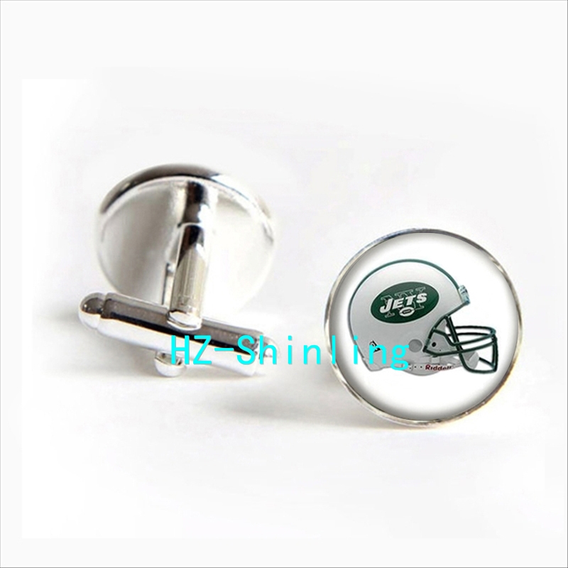 2017 wholesale New York Jets Team Helmet Cufflinks American Football Cuff link Men Cufflinks High Quality
