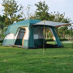 Image 2 - 大型テント家族防水二重層 8 10 12 人キャビンテント 2 リビングルーム高級キャンプマーキーテント