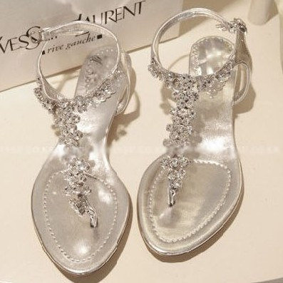 2015 summer new sweet girl diamond beaded flat sandals crystal wedding  white sandals for women princess shoes-in Women s Sandals from Shoes on ...