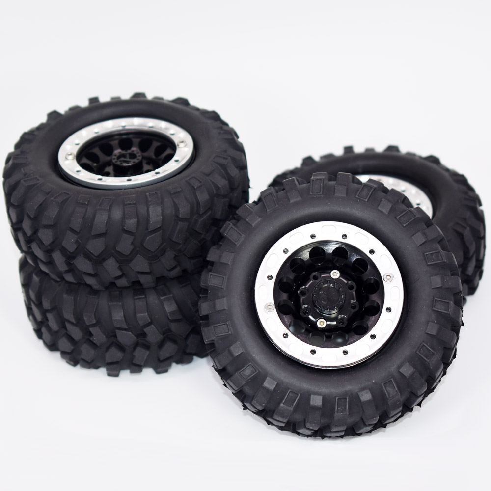4pcs/lot 1.9inch Aluminum Beadlock Wheel Rims Set + 96mm Rubber Tyres Tires For 1/10 RC Crawler Car Axial SCX10 D90 Traxxas TRX4