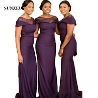 Grape Purple Long Formal Dresses for Wedding Party Illusion Scoop Elegant Bridesmaid Dresses feestjurken SBD79