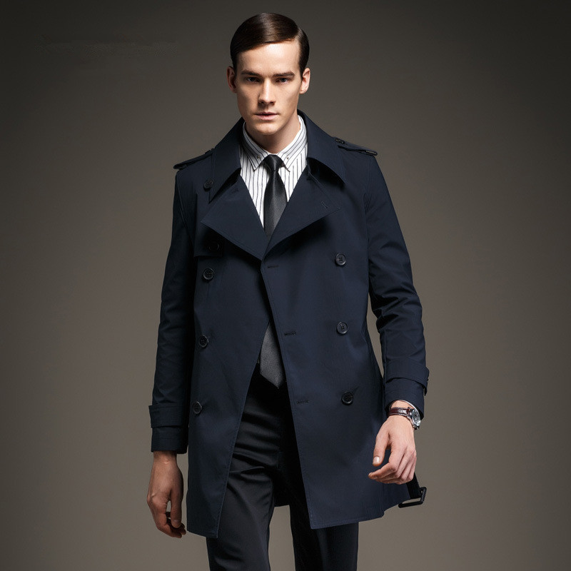 Brand Mens Clothing England Spring Double Breasted Gentleman Trench Coat British Male Slim Fit Navy Blue Pea Coats