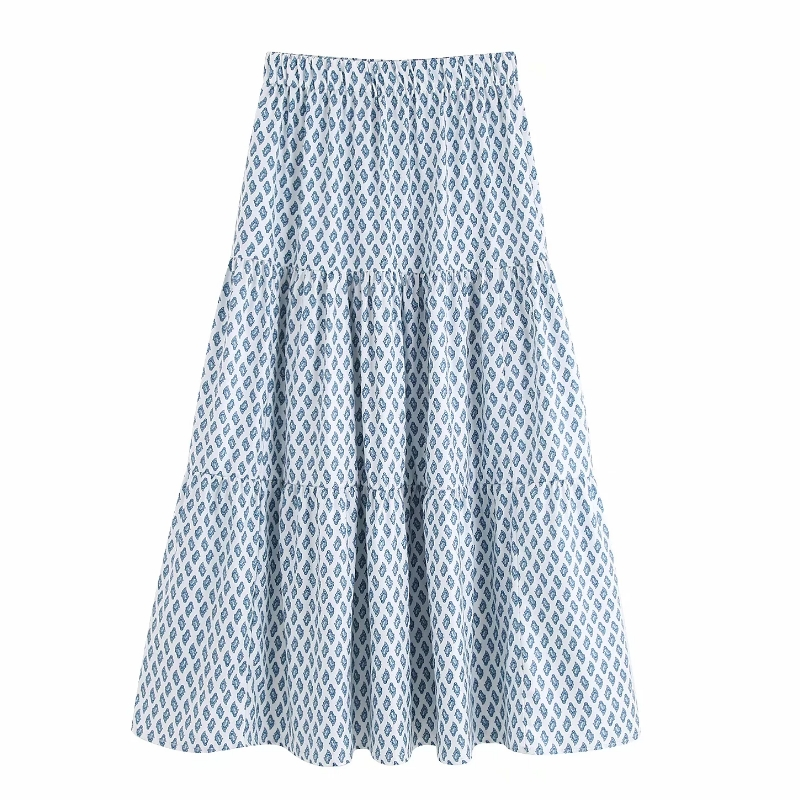 New Women Beach Style Position Print Pleats Long Skirt Faldas Mujer Ladies Elastic Waist Casual Loose Chic Skirts QUN374