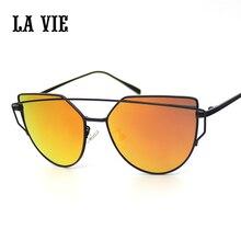 LA VIE de La Marca de Moda Del Ojo de Gato Gafas de Sol para Niños Niños gafas de Sol de Diseñador de Doble Vigas Espejo Lente Plana gafas de sol