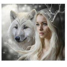 Decor Malerei Mädchen-der Wolf DIY Diamant Malerei Kreuzstich Muster runde Kit Mosaik Harz 5D Symbol Diamant Stickerei