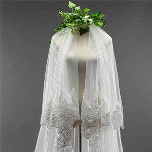 Image 5 - כלה צעיף ארוך 3.5M שתי שכבה תחרה קצה רעלה עם מסרק עבור הטולה Mariage חתונה אביזרים