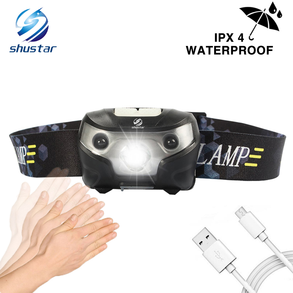 Rechargeable LED Headlamp Sensor Switch Headlight Waterproof Super Bright 4 Lighting Modes Fishing Headlamp With USB Cable