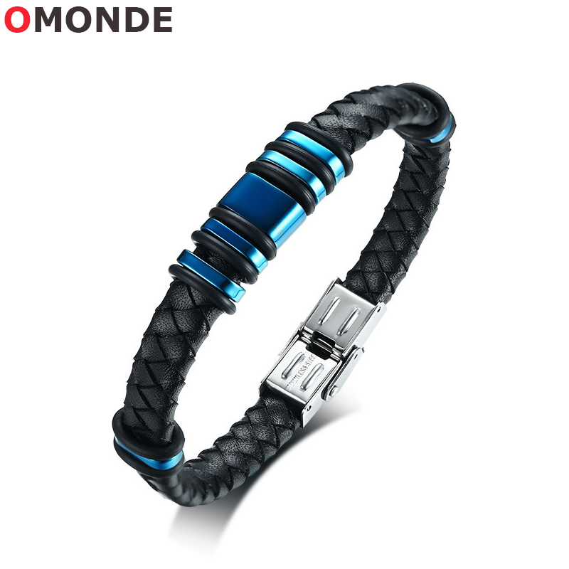OMONDE Luxury 21.5cm Men Street Braided Genuine Leather Charm Bracelets for Male Bangle Stainless Steel Woven Cuff Wristband