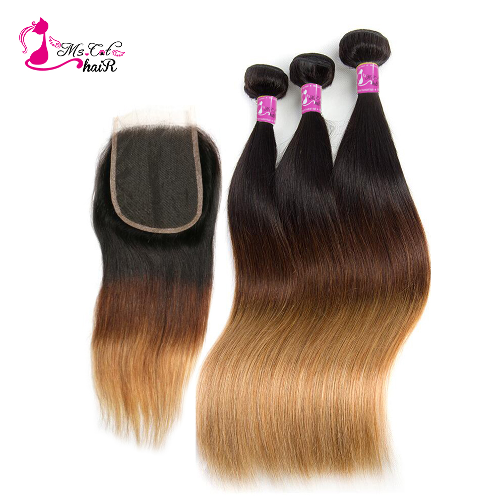 Ms Cat Hair Pre Colored Brazilian Straight Ombre Hair Bundles With Closure 1b 4 27 4