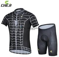2014 NEW Summer Spider Man Black Short Sleeve Cycling Jersey Shorts Set Bicycle Clothes Jerseys Pants