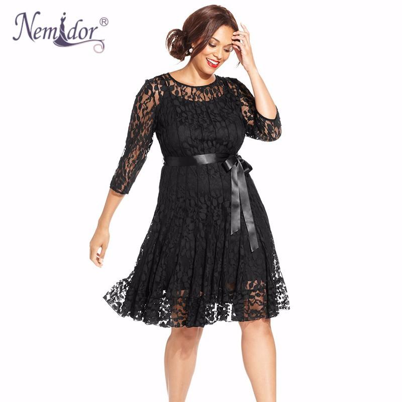 Nemidor Plus Size Lace Dress (2)