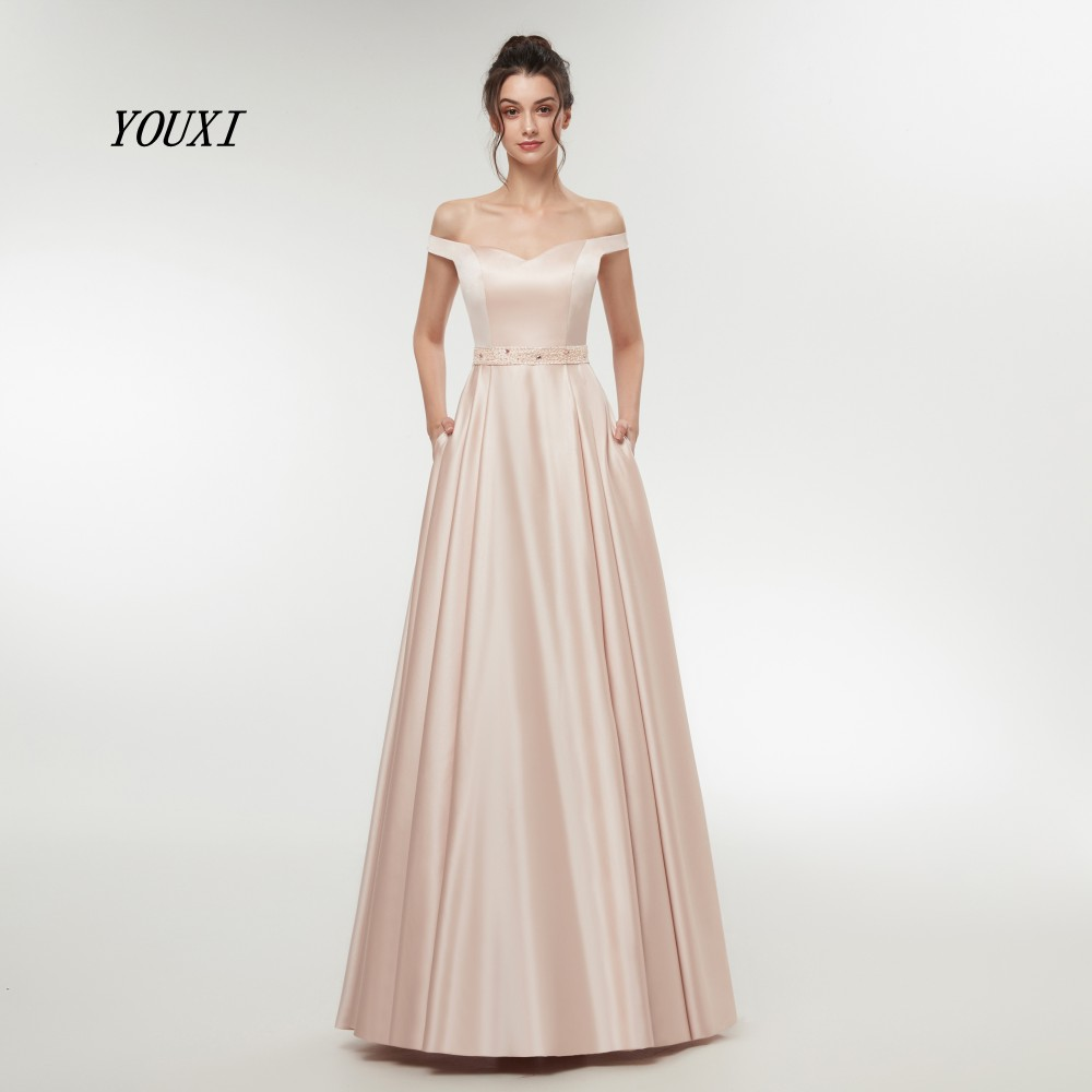 Nude Pink Sexy   Prom     Dresses   2019 Long Girl Satin Off Shoulder Evening   Dress   Long Gown Beads Sashes Party   Dresses   Robe De Soiree