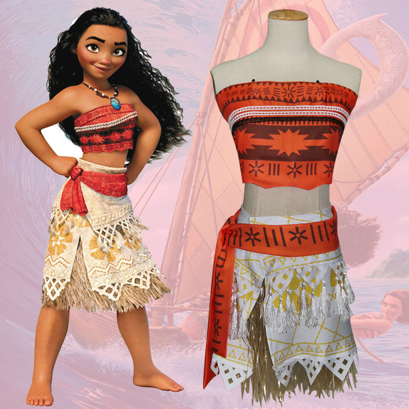 Women Dress Cosplay for Moana Princess with Wigs Necklace Vestidos US movie Anime Halloween Costume for Adult Children Baby Girl