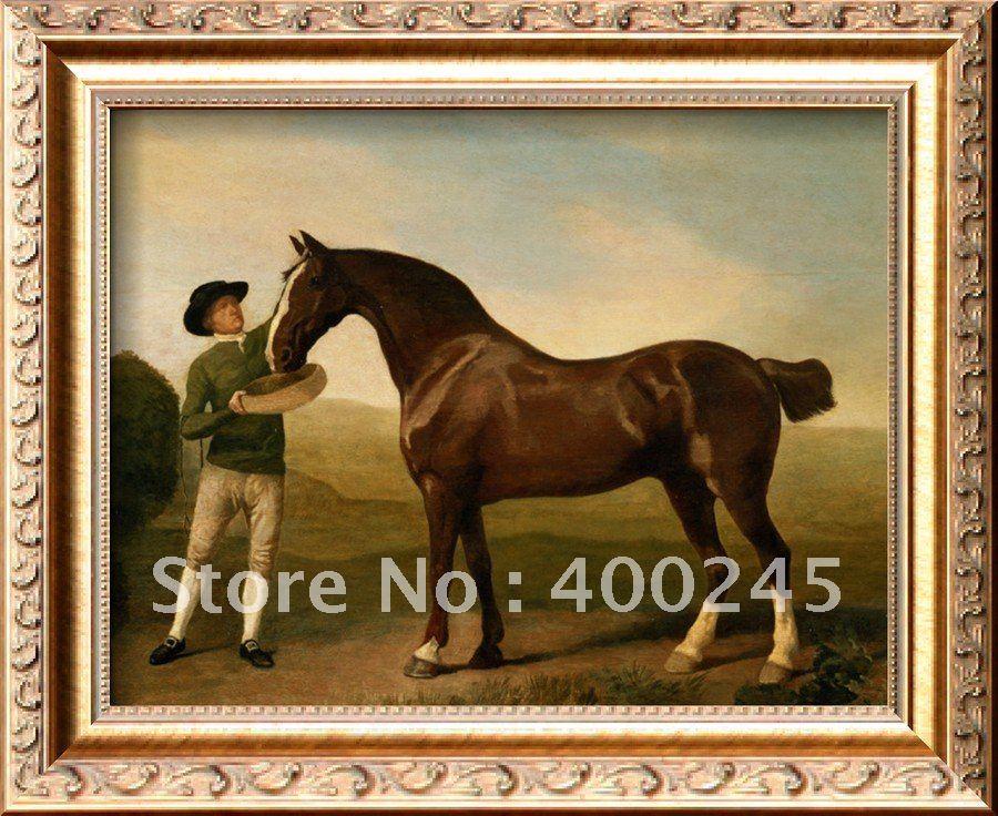 Жених, кормящий охотника на заливе в ландшафте, Джордж Стаббс, живопись, Репродукция высокого качества, ручная роспись