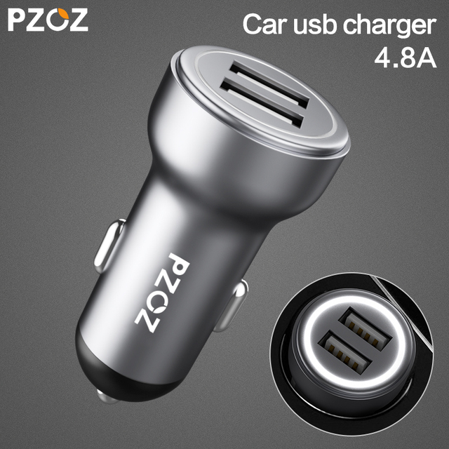 PZOZ Car Charger Dual USB 4.8A charging Mobile Phone Adapter For iPhone 7 6 Samsung Xiaomi micro mini dash Car-charger universal