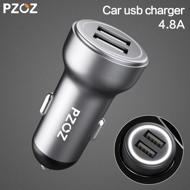 PZOZ Chargeur De Voiture Double USB 4.8A de charge Mobile Téléphone Adaptateur Pour iPhone 7 6 Samsung Xiaomi micro mini-tableau de bord De Voiture -chargeur universel