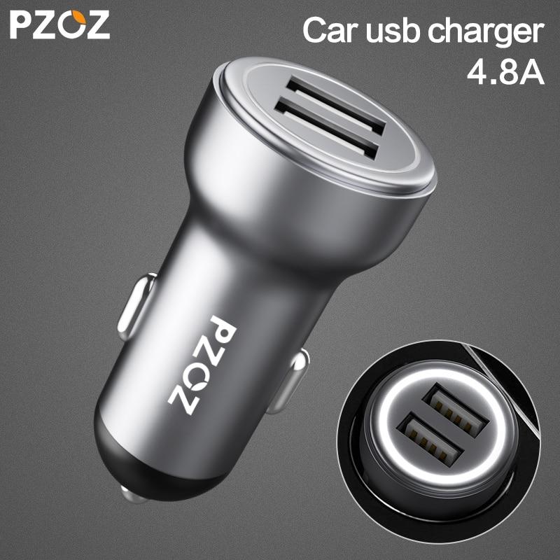 PZOZ cargador de coche Dual USB 4.8A carga adaptador para iPhone 7 6 Samsung Xiaomi micro mini tablero de coches -cargador universal