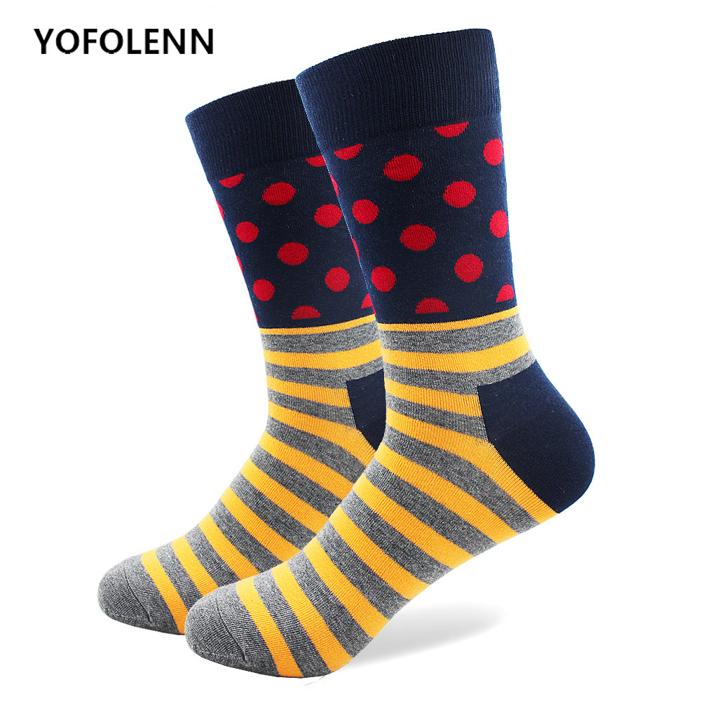 6 Patterns Mens Funny Combed Cotton Socks with Pattern Dot and Stripe Wedding Gift Womens Funny Colorful Socks Crew Casual