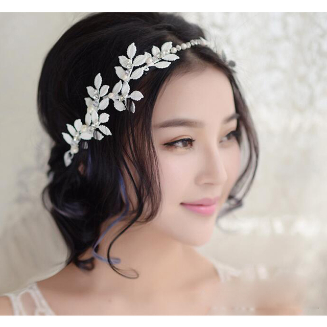 Elegant Silver Leaves Crystal Pearl Headbands Bridal Hair Accessories Wedding Hairbands Tiara Head Piece Fashion Whole