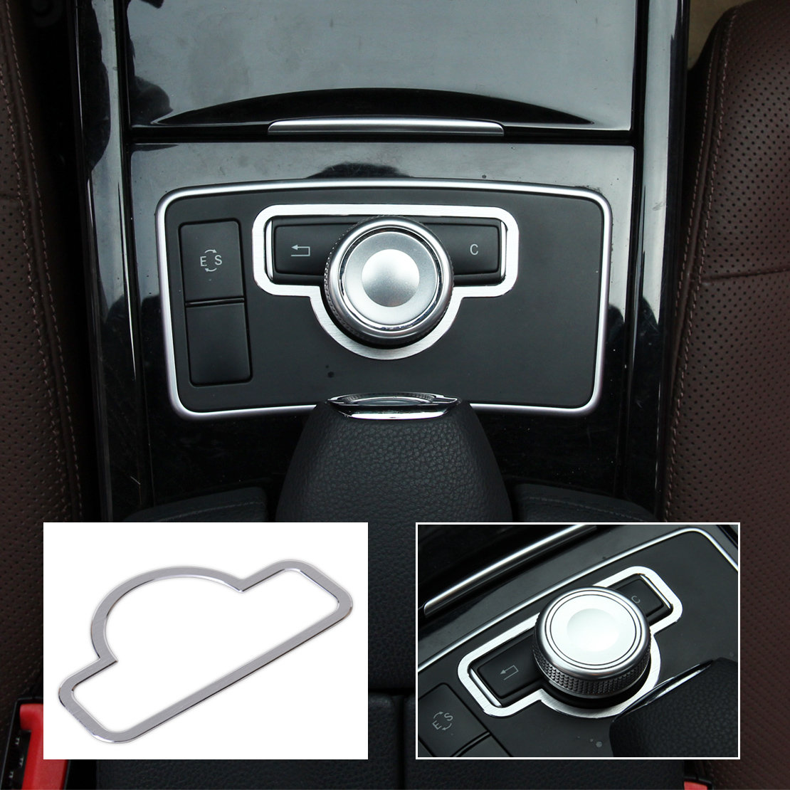 beler Interior Console Panel Center Console Multimedia Button Switch Cover Trim for BENZ C E GLK CLS Class W204 W212 W218 X204