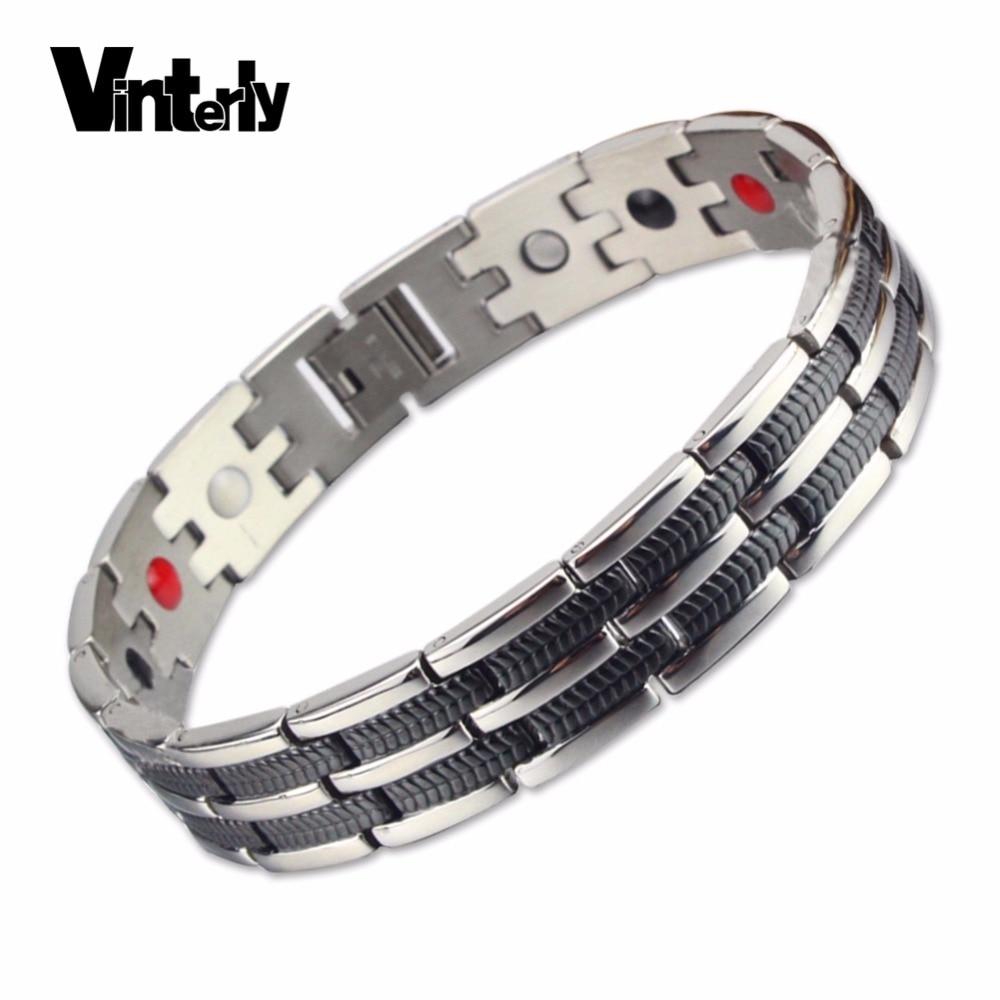 Vinterly Mens Chain Link Bracelet Wheat Black Stainless Steel Health Energy Germanium Magnetic Bracelets Bangles For Men Jewelry