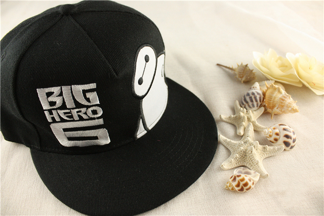 af23cfe3610 Movie Big Hero 6 Baymax Snapback Hat Cosplay Adjustable Embroidery Summer  Sun Baseball Cap Black Color