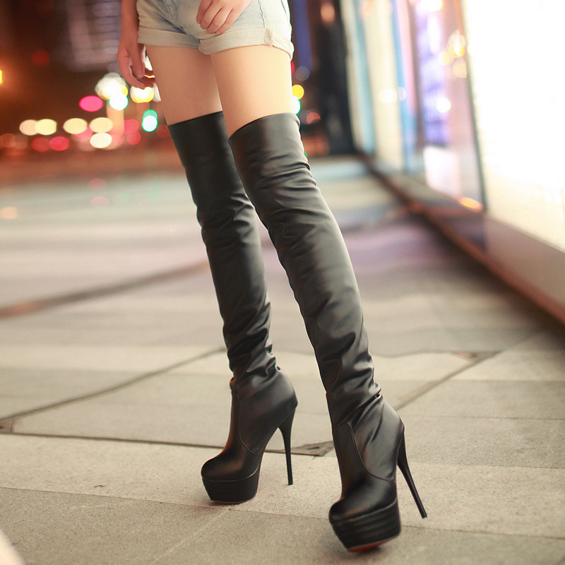 2018 New Women Boots PU Sexy Over The Knee Long Boots Sexy Thin High Heel Boots Platform Women Shoes Zapatos De Mujer Botas стоимость