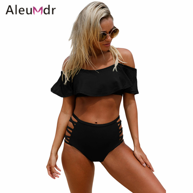Aleumdr Sexy Women Swimsuit 2017 Summer Ruffle Off Shoulder Bikini Set Beach High Waist Bottom Bathing Suits Woman LC410209 khaki off the shoulder ruffle trim bikini set