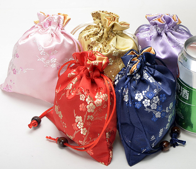 Cherry Blossom Small Drawstring Gift Bags Christmas Candy Bag Thick