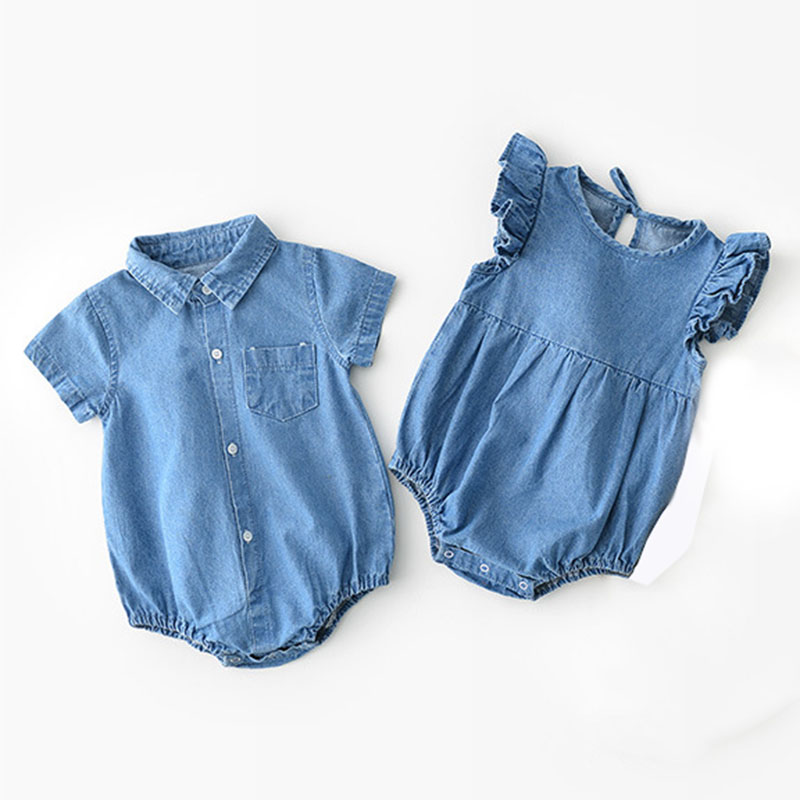 Newborn Baby Short Sleeve Jumpsuits Casual BROTHER Printed Playsuits Crawl Suits