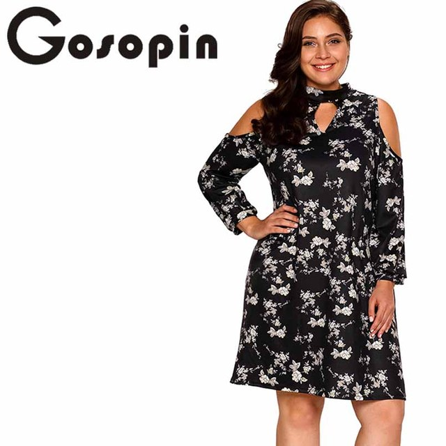 9ad309936f3d5 Gosopin Plus Size Sexy Autumn Dress Mini Floral Print Black Cold Shoulder  Spring Casual Long Sleeve Beach Dress Female LC220178