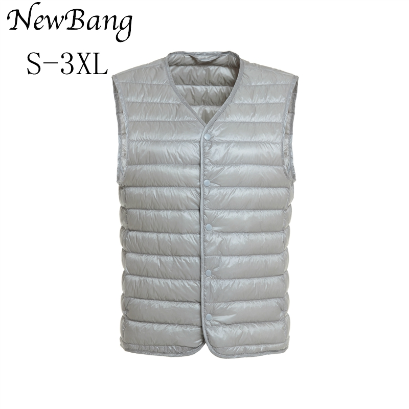 NewBang Mens Down Vest Ultra Light Down Vest Men V-neck Sleeveless Spring Autumn Waistcoat Winter Without Collar Warm Liner