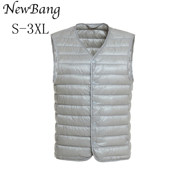 8db33ac1069 NewBang Mens Down Vest Ultra Light Down Vest Men V-neck Sleeveless Spring  Autumn Waistcoat Winter Without Collar Warm Liner