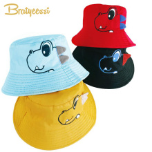 07679bc8ab278 Dinosaur Baby Hat Cotton Double-sided Bucket Hat Baby Spring Autumn Cap  Kids Hats Toddler