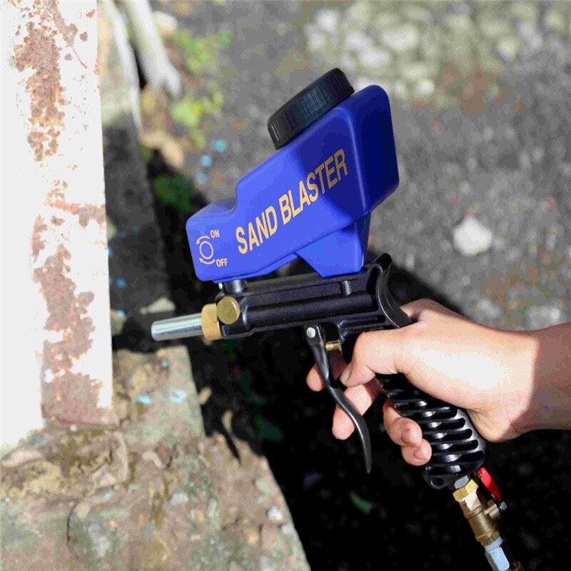 Gravity-Feed Tragbare Pneumatische Schleif Sand Blaster Gun mit Ersatz Blaster Spitze Hand Sandstrahlen Pistole Blau Farbe