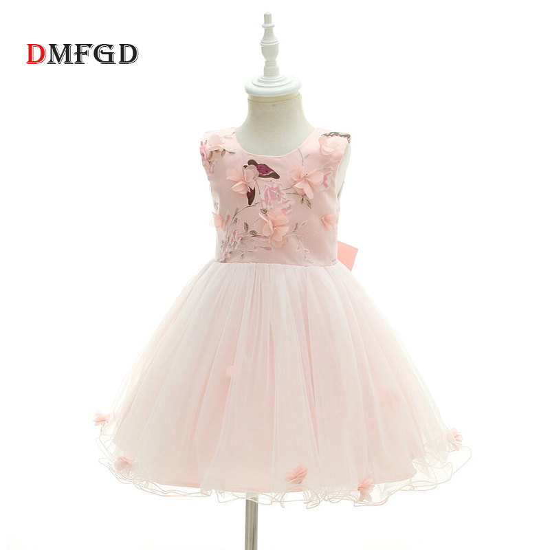 Fashion Spring  pink flowers ball gown dress for girls sleeveless O-neck wedding sequins party princess dress New princess girls dress 2017 new fashion spring